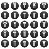 Ancient Columns Icons Set. Simple Illustration Of 25 Ancient Columns Vector Icons Black Isolated poster