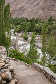 Постер, плакат: View of the Turtuk valley and the Shyok river Turtuk is the last village of India on the India Pa