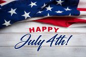United States Flag On White, Weathered Clapboard Background With July 4th Greeting poster
