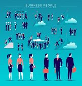 Vector Flat Illustration With Business People Office Characters & Metaphor Isolated On Blue Backgrou poster