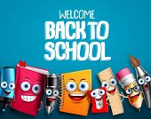 Back To School Characters Set Vector Background Design With Colorful Funny Educational Cartoon Masco poster