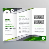 Creative Trifold Brochure Design With Green And Gray Wavy Shape poster