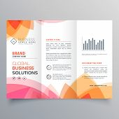 Business Trifold Brochure Template With Soft Pink And Orange Colors poster