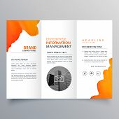 Orange Watercolor Trifold Business Leaflet Brochure Flyer Template Design poster