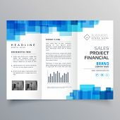 Blue Square Shape Trifold Business Brochure Design Template poster