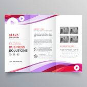 Business Trifold Brochure Design With Colorful Wave Shape poster