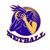 pic of netball  - illustration of a netball player holding passing ball viewed from front done in retro woodcut set inside circle - JPG