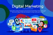 Digital Marketing Concept. Business Development, Lead Generation. Social Network And Media Communica poster