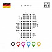 Dotted Map Of Germany. Simple Silhouette Of Germany. The National Flag Of Germany. Set Of Multicolor poster