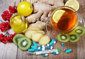 Tea For Cold And Flu. Vitamin Tea, Honey, Ginger, Lemons And Viburnum. Thermometer And Tablets. Medi poster
