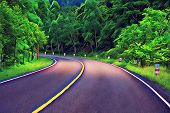 Turn On Empty Forest Road. Summer Travel Landscape Vibrant Digital Illustration. Highway And Roadsid poster