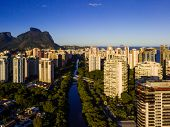 Drone Photo Of Barra Da Tijuca , Rio De Janeiro, Brazil. We Can See The Marapendi Canal, Some Buildi poster