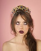 Emotional Queen With Crazy Face And Fashionable Makeup In Crown. Surprised Queen With Trendy Makeup poster