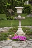 Garden Centerpiece, Tall Foutain With Nicely Landscaped Yard poster