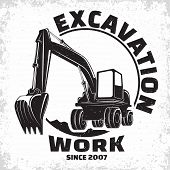 Excavation Work Logo Design, Emblem Of Excavator Or Building Machine Rental Organisation Print Stamp poster
