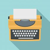 Typewriter With Shadow Icon. Flat Illustration Of Typewriter With Shadow Vector Icon For Web Design poster