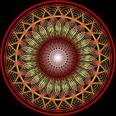 Mandala In Warm Colors For Vitality Obtaining. Filigree Embroidery Patterns In Yellow, Orange And Re poster