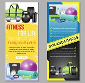 Vector Fitness Vertical Banner Set. Health And Fitness, Fitness For Life Concept Design Elements, We poster