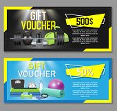 Fitness Gift Voucher Template Set. Vector Illustration. Gift Certificate, Discount Coupon, Voucher M poster