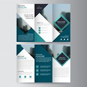 Blue Triangle Business Trifold Leaflet Brochure Flyer Report Template Vector Minimal Flat Design Set poster