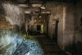 Abandoned Ruined Industrial Factory Building, Corridor View With Perspective, Ruins And Demolition D poster