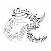Musical Staff Or Music Stave Poster For Music Concert. Vector Musical Notes On Staff Icon Of Notes A poster