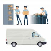 Post Mail Delivery And Postman Work Flat Icons. Vector Isolated Mailman Sorting Letters Envelopes An poster