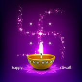 stock photo of kolam  - Vector Diwali Oil Lamp with Swastica Background - JPG