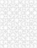 Jigsaw Puzzle Blank Template Or Cutting Guidelines With Pieces Of Various Shapes Randomly Scattered. poster