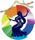 image of dhol  - Garba Dancer in rainbow backdrop - JPG