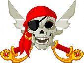 stock photo of rogue  - Pirate Skull and crossed sables - JPG