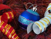 Christmas Blue Ball And Ribbons On Fluffy Background poster