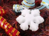 Christmas Snowflake And Ribbons On Fluffy Background poster