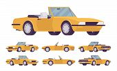 Yellow Cabriolet Car Set. Roadsters Passenger Vehicle With A Roof Folds Down, Convertible Top, Two S poster