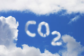 stock photo of carbon-dioxide  - Carbon Dioxide symbol in blue sky and cloud  - JPG