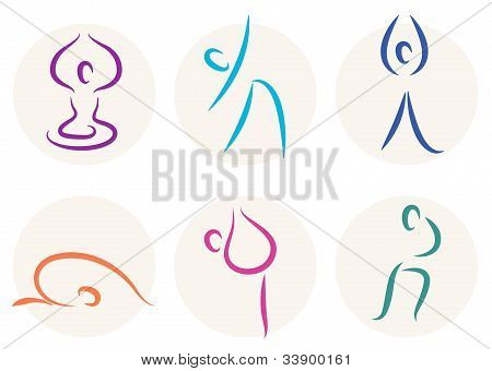 Yoga Stick Figure Icons Or Symbols Isolated On White