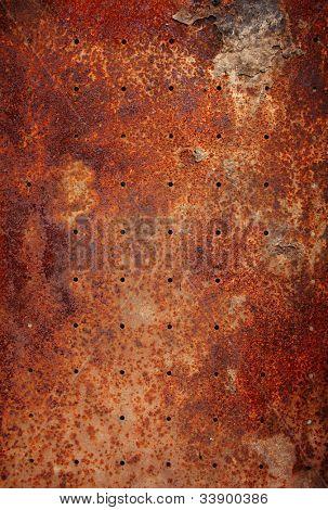 alte Metall Textur mit runden Löchern