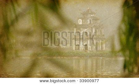 vintage  paper textures.  Tortoise Island - Hoam Kiem Lake (Lake of the Restored Sword).   Vietnam,  Hanoi