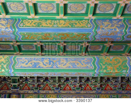 China Forbidden City Painted Green Dragon Beams