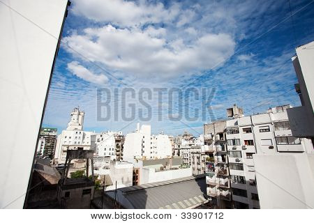 View Of The City And The Blue Sky With Clouds