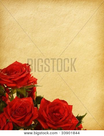 old paper textures with red roses