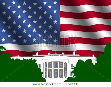 Casa blanca con la bandera americana