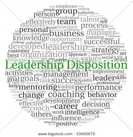 Leadership Disposition concept in word tag cloud on white background