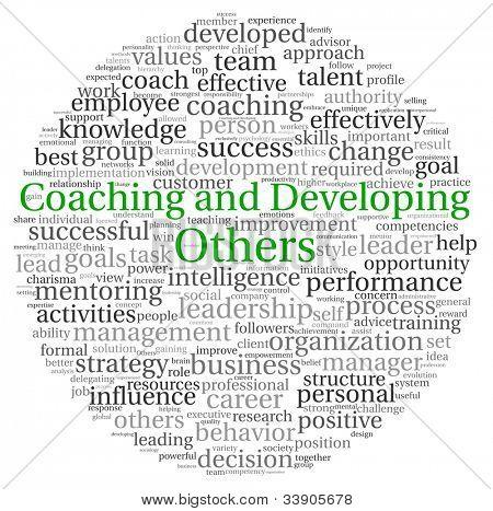 Coaching e desenvolvimento de outro conceito na nuvem de Tags palavra sobre fundo branco