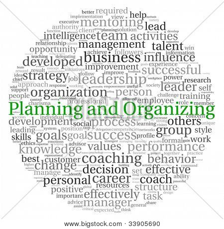 Planning and Organizing concept in word tag cloud on white background