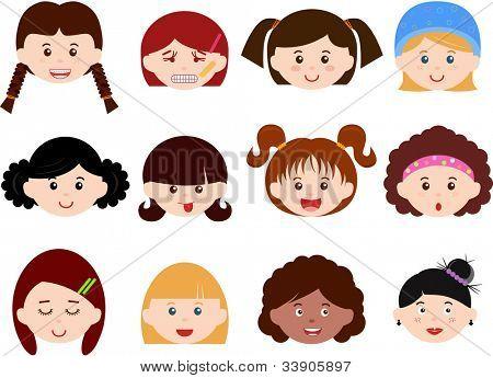 Ein Thema von hübsch Vector Icons: Köpfe von Mädchen, Frauen, Kinder (weibliche Set) verschiedene Figurtypen, isoliert