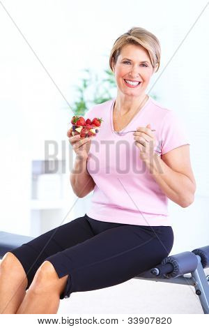 Senior woman with a salad. Diet. Healthy lifestyle.