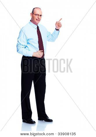 Handsome smiling businessman. Isolated on white background.