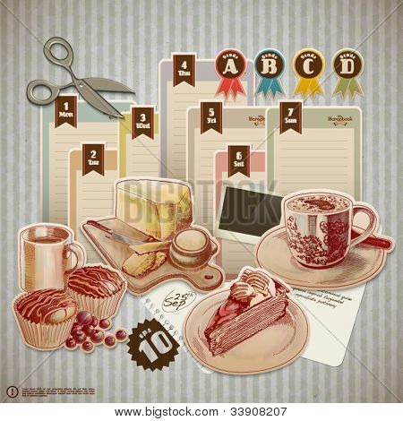 Vector Retro Scrapbook Element for Food and Drink Diary