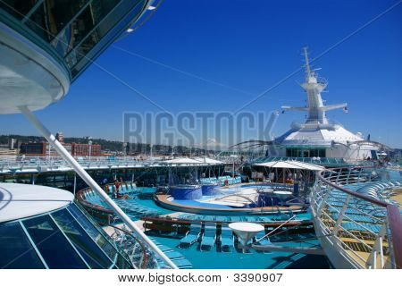 Cruise Ship Deck And Pool With Mt. Rainier
